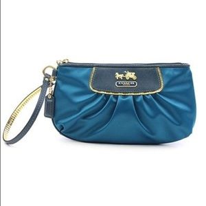 Coach teal blue satin small wristlet